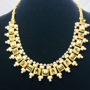 Loft by Ann Taylor Crystal & Gold Necklace #69